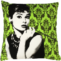 Large Audry Hepburn Cushion green