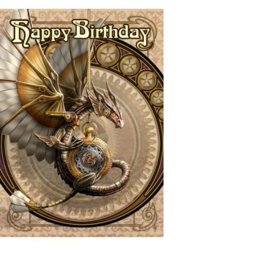 Clockwork Dragon Birthday card by Anne Stokes