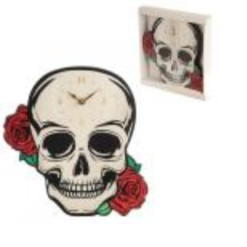 Skull & Roses Shaped Picture Clock