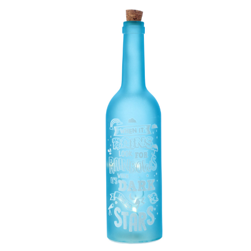 Decorative Matte LED Light Bottle Wish Upon a Star Slogan - Blue