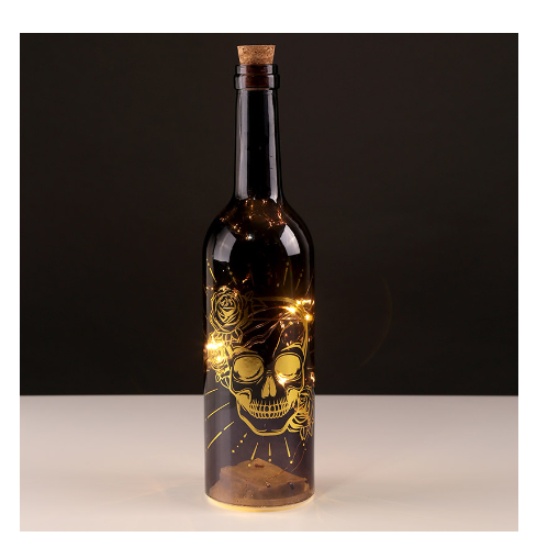 Decoraive Skulls & Roses LED Light Bottle - Black and Gold
