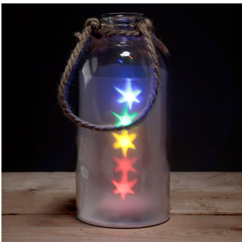 Decorative Glass Jar with Mullticoloured star LED Lights With a Rope Handle