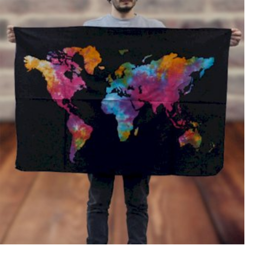 Tie Dye map of the world wall hanging